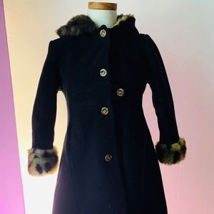 Girl's Copper Key Black Winter Coat - Size 6/6X